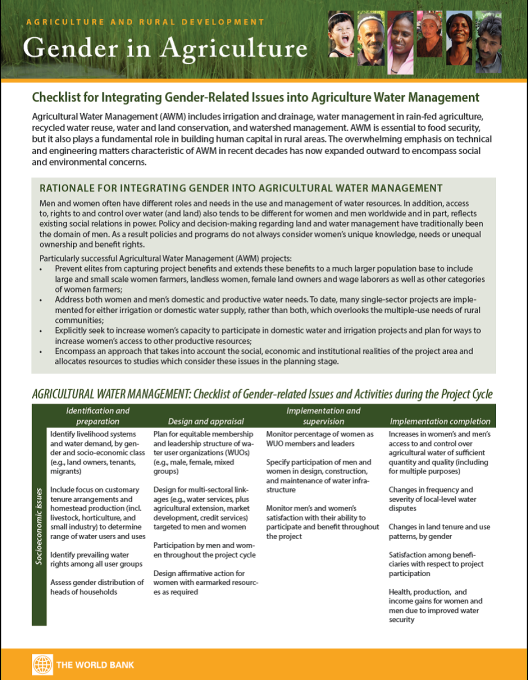 Checklist for Integrating Gender-Related Issues Into Agricultural Water Management - The World Bank