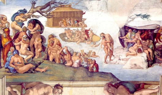 """Genesis 7:11 - The Flood"" from Stories of Genesis (roof of Sistine Chapel) by Michelangelo."