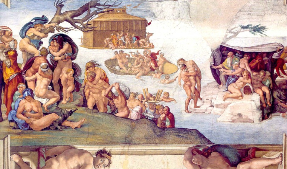 """""""Genesis 7:11 - The Flood"""" from Stories of Genesis (roof of Sistine Chapel) by Michelangelo."""