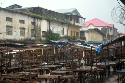 An empty street market in Monrovia's West Point district, 20 August 2014 - Phot Credit; FAO
